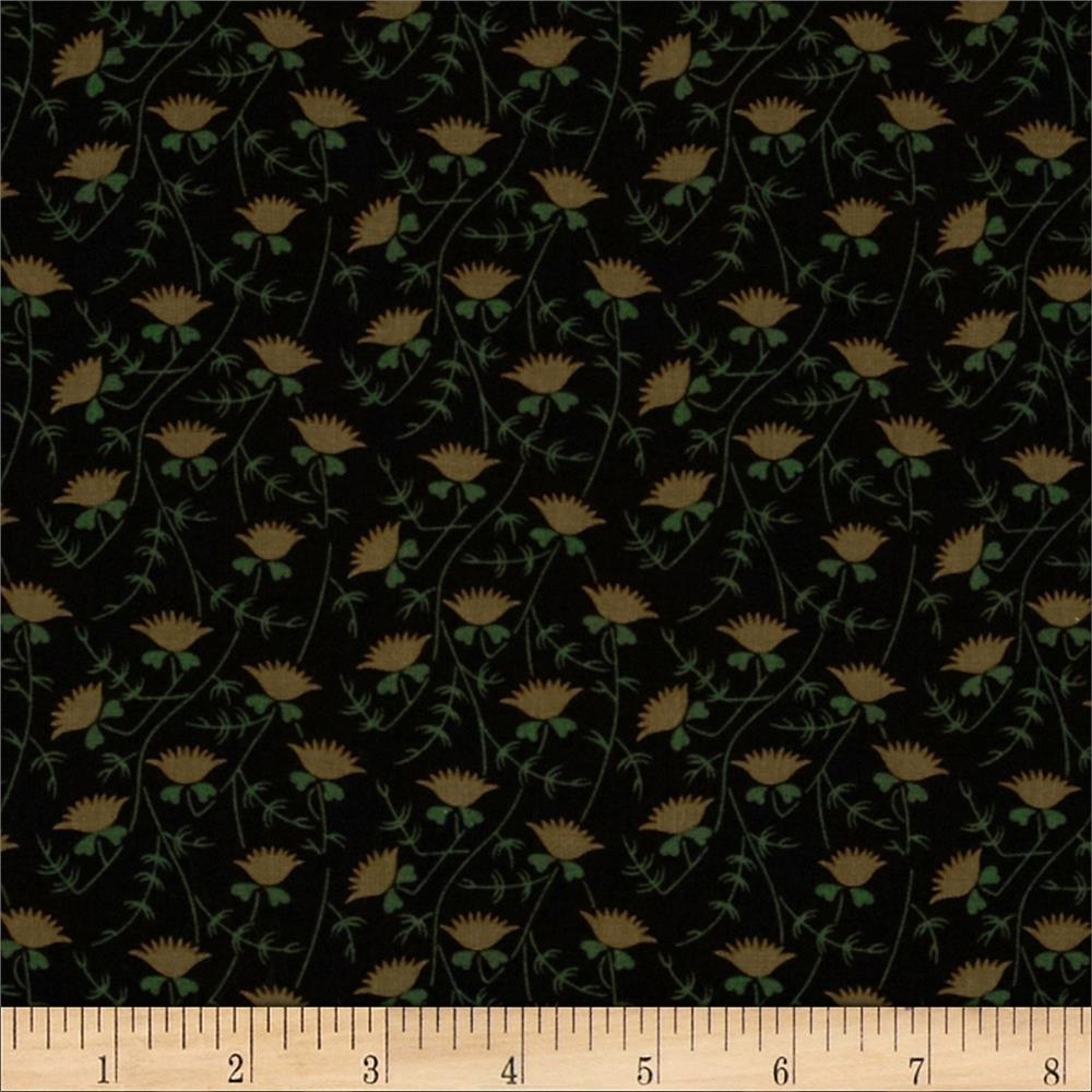 Sporit of Christmas Small Floral Vines Black