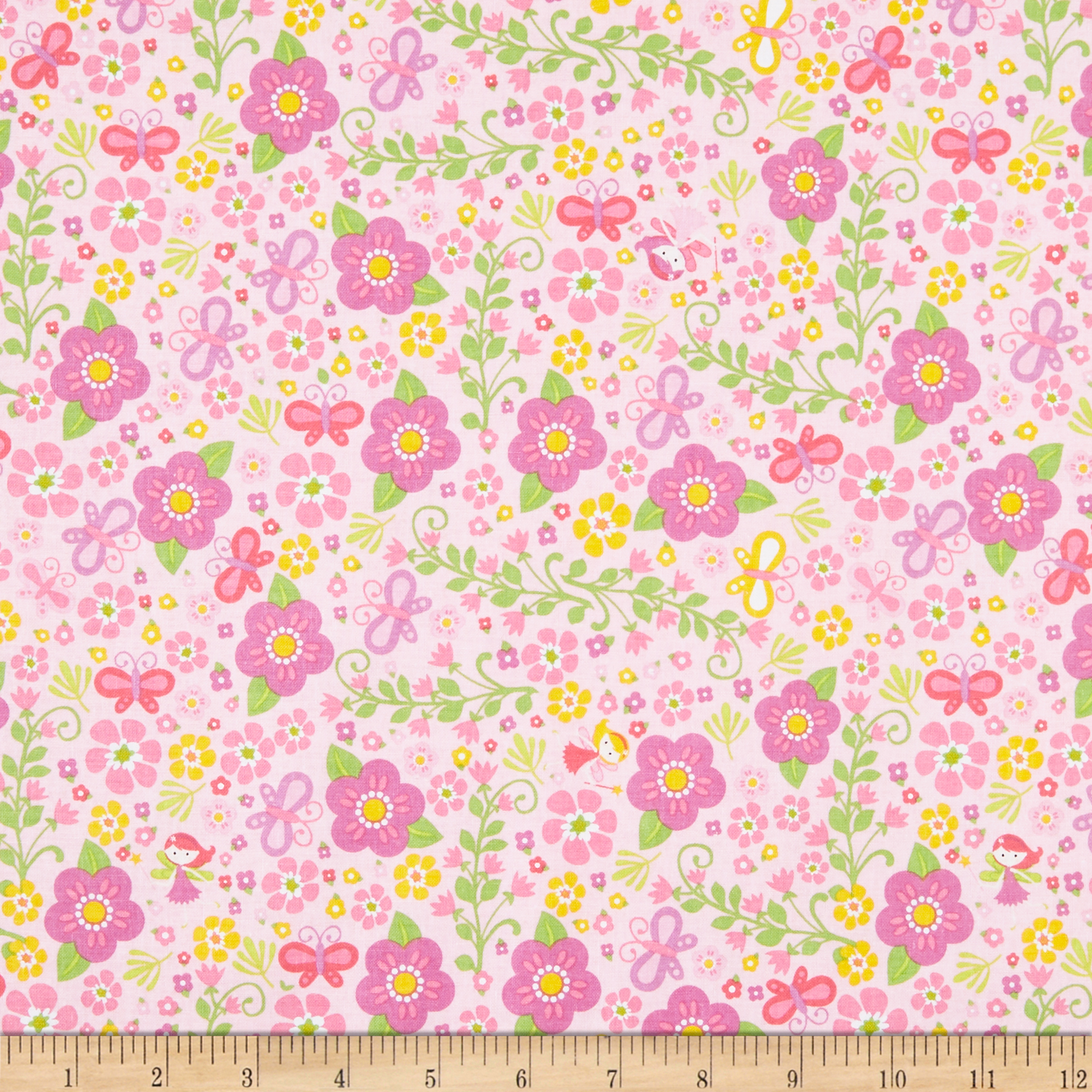 INOpets.com Anything for Pets Parents & Their Pets Riley Blake Fairy Garden Garden Pink Fabric