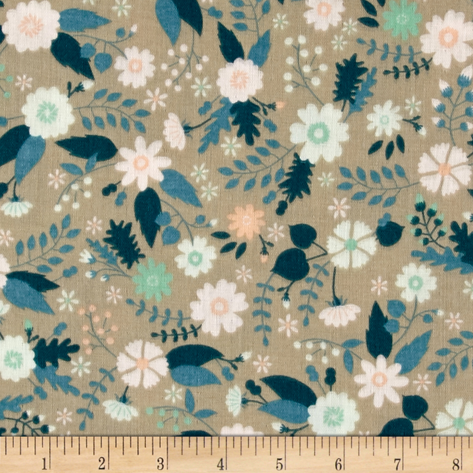 Ciana Bodini Double Gauze Floral Taupe Fabric by Eugene in USA