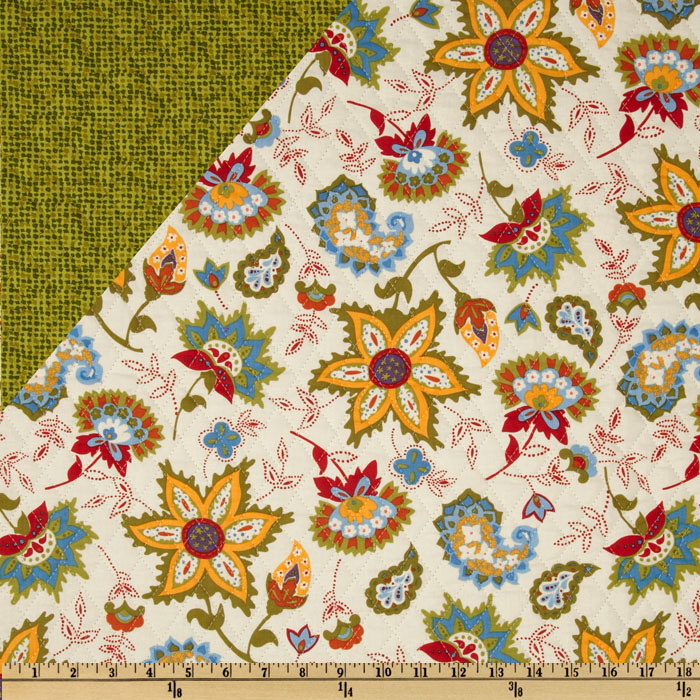 Dilly Day Double-Sided Quilted Floral/Blender Green/White Fabric