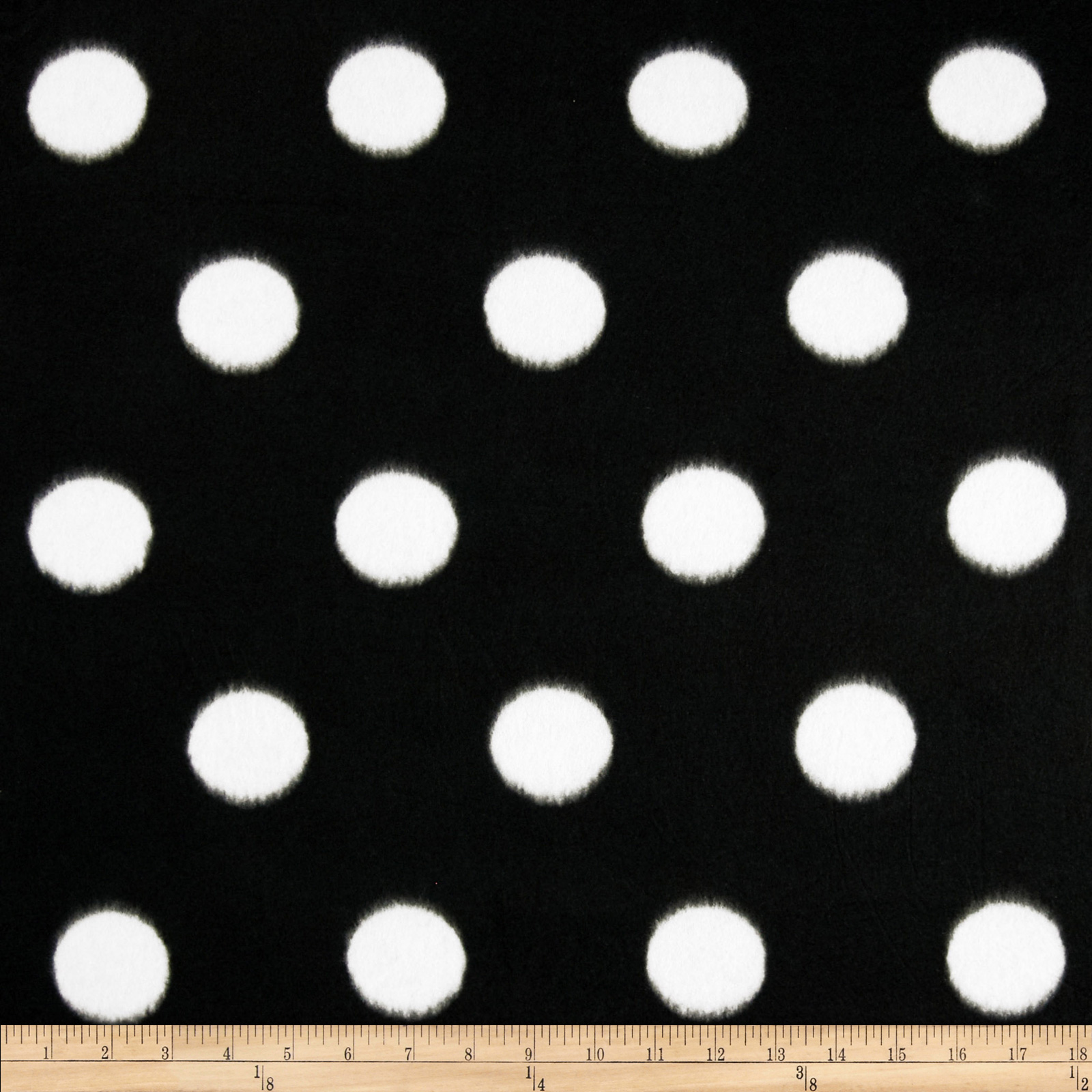 Fleece Print Large Polka Dots Black