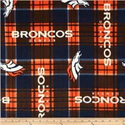 NFL Fleece Denver Broncos Plaid Blue/Orange Fabric