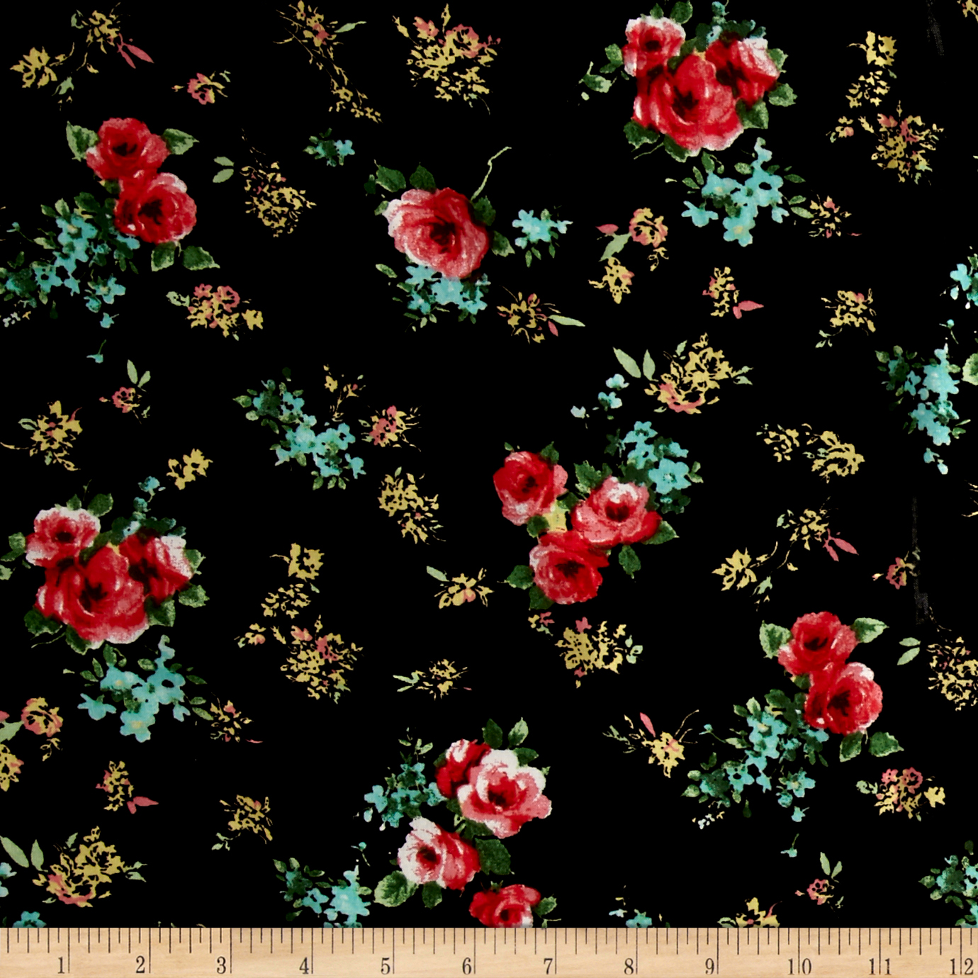 Garden Universe Rayon Challis Black/Light Coral Fabric