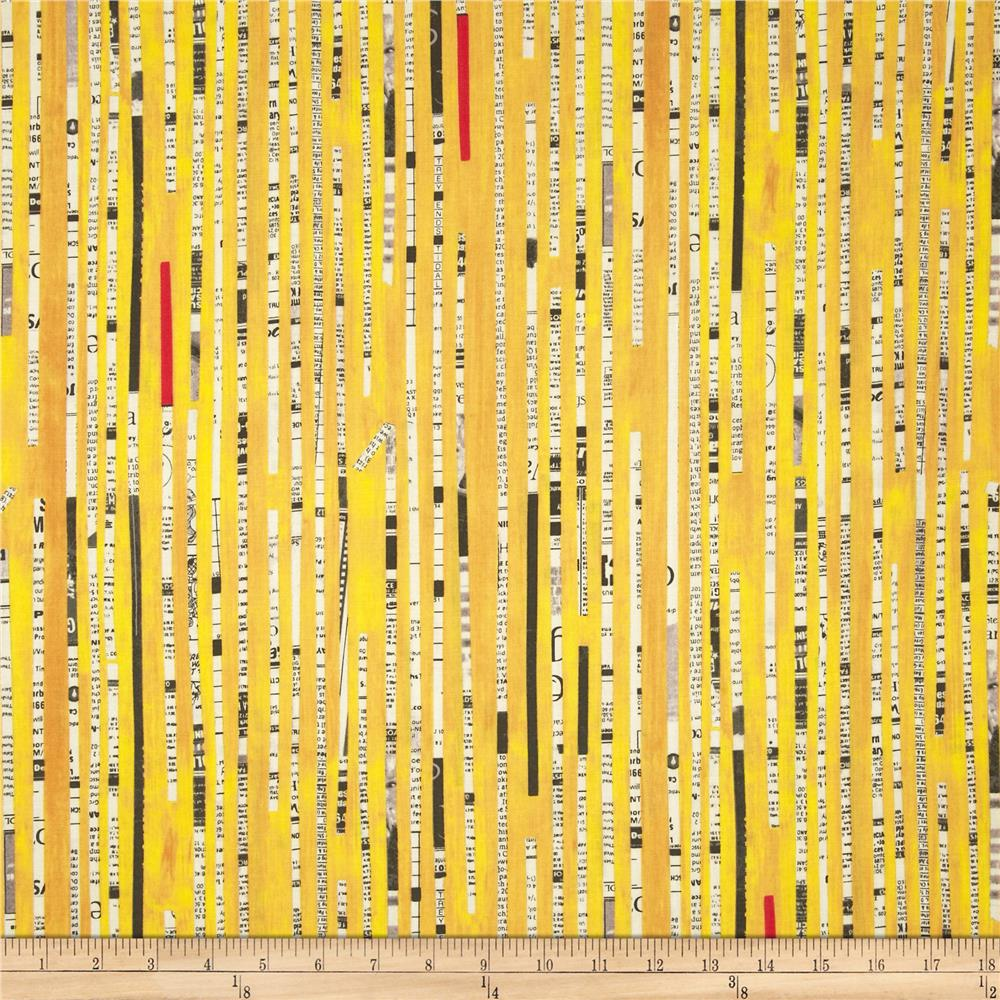 Collage Newsprint Stripe Yellow