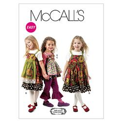 McCall's Children's/Girls' Top, Jumpers, Detachable Aprons and Pants Pattern M6387 Size CDD