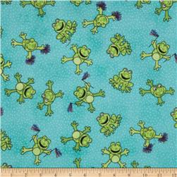 Comfy Flannel Cheering Frogs Blue
