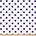 Cotton Jersey Knit Polka Dots Purple/White