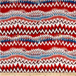 Stretch ITY Jersey Knit Zig Zag Mod Red