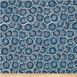 Timeless Treasures Tonga Batik Indigo Dreams Daisy Block Windsor