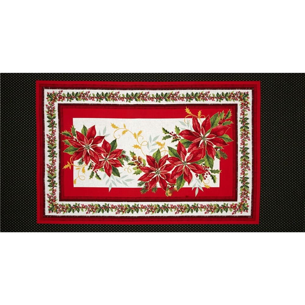 Holiday Blooms 24 In. Metallic Poinsettia Panel Red/Green/Beige