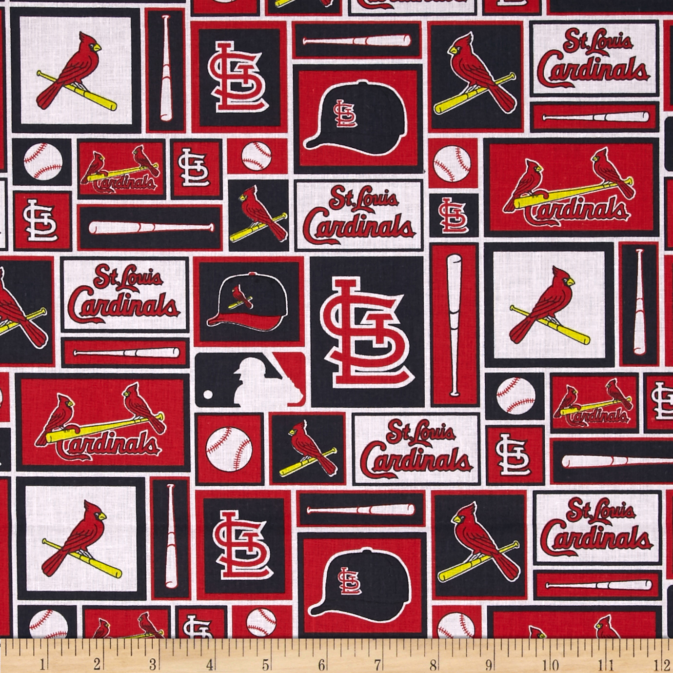 MLB Cotton Broadcloth St. Louis Cardinals Black/Red Fabric by Fabric Traditions in USA