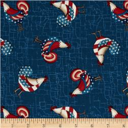 Little Bit of Country Patriotic Roosters Blue/Multi
