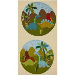 Michael Miller Dino Roars Dino Panel Blue Fabric