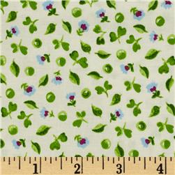 Tossed Ditsy Flowers White/Green Fabric