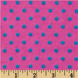 Aunt Polly's Flannel Small Polka Dots Fuchsia/Teal