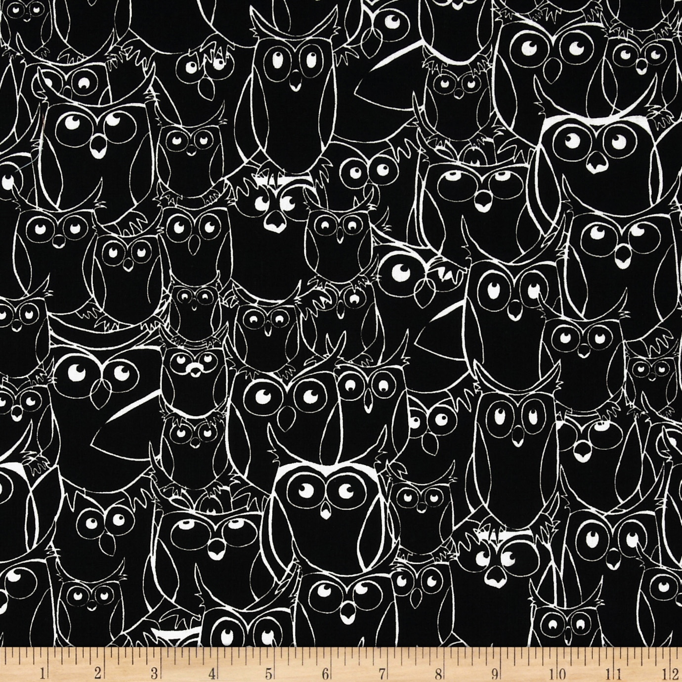 Nite Owls Sketched Owls Black/White Fabric