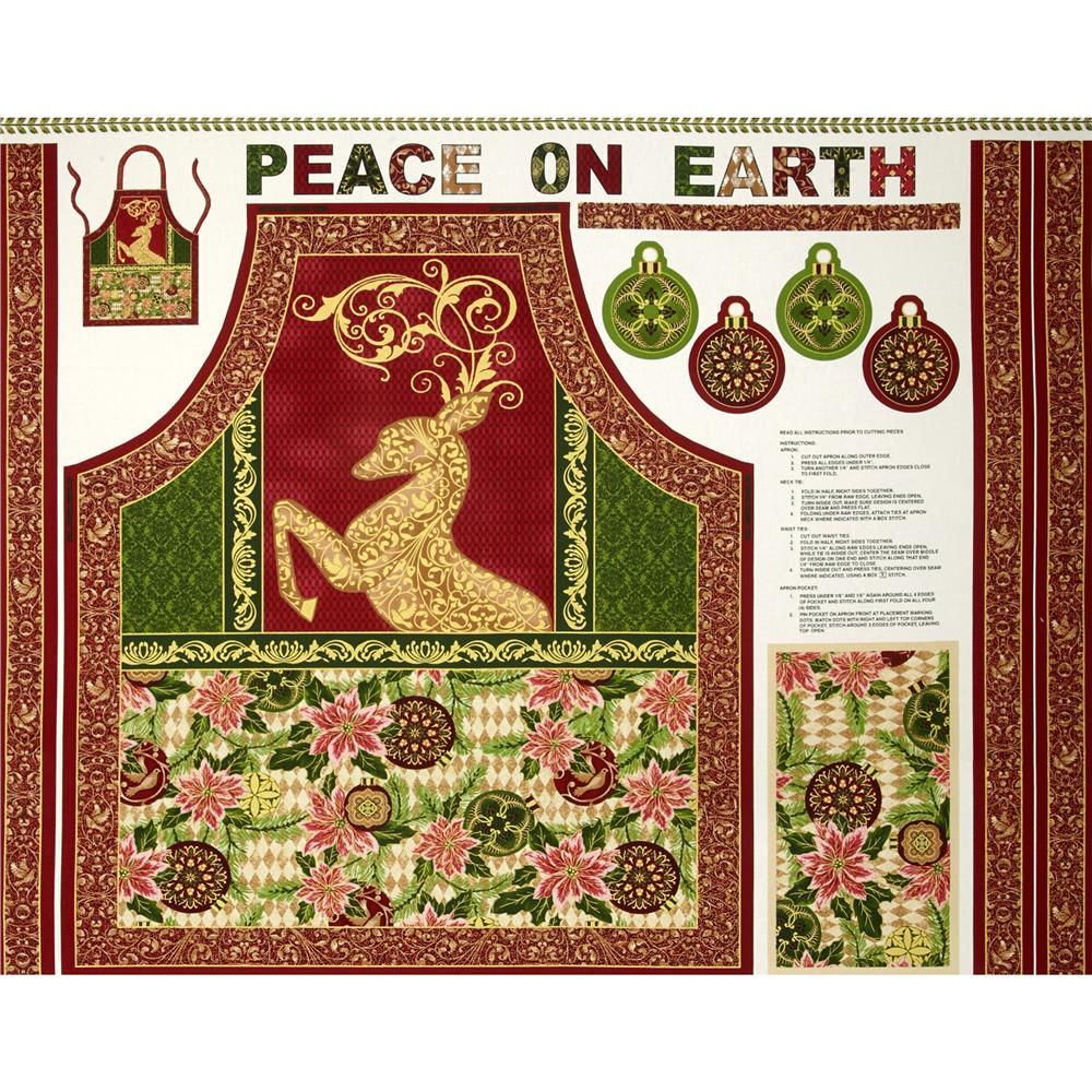Peace on Earth Reindeer Apron Multi