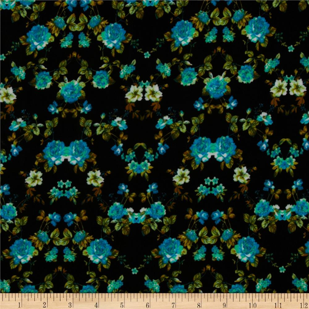 Designer Stretch ITY Knit Floral Blue/Green