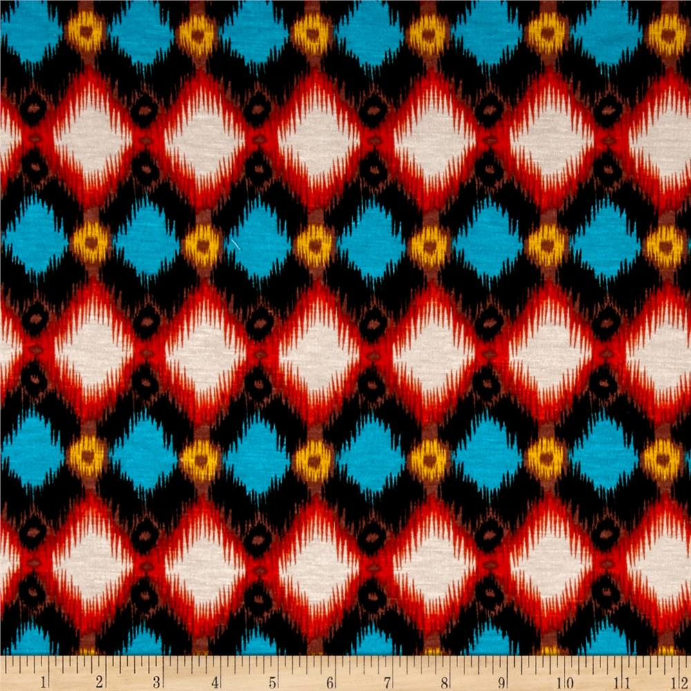 Rayon Jersey Knit Horizontal Distorted Diamonds Orange/Teal