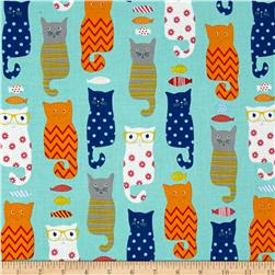 Riley Blake Designer Novelty Smarty Cats Blue