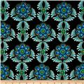 Rhapsody In Blue Metallic Feather Medallion Black