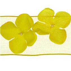 "1 1/2"" Wired Dimensional Flower Organza Ribbon Yellow"