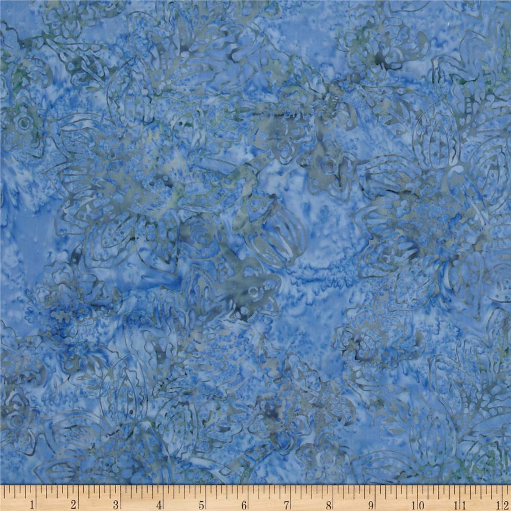 Timeless Treasures Tonga Batik Zen Jacobean Floral Blue