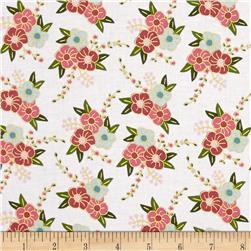 Riley Blake Wonderland Sparkle Floral White