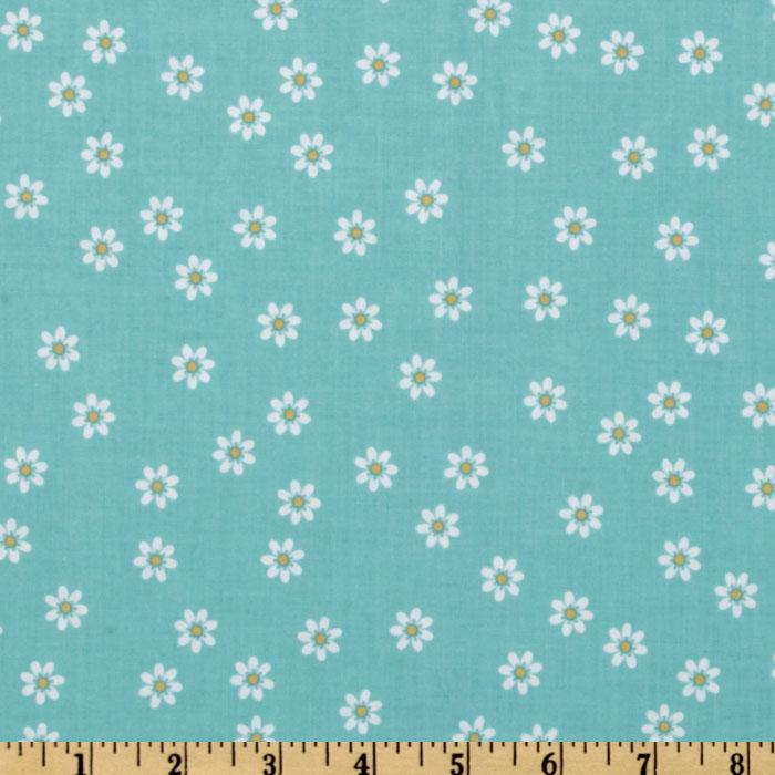 Riley Blake Polka Dot Stitches Daisy Blue
