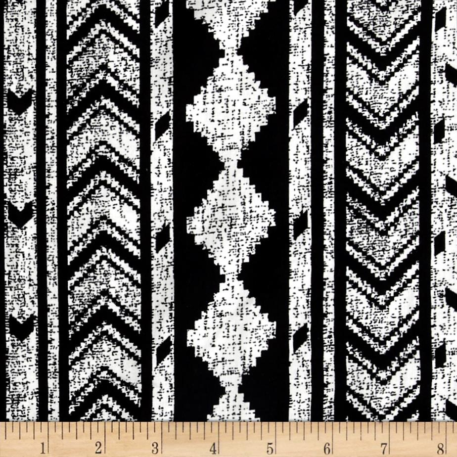 Diamond Links Rayon Challis Black/Ivory