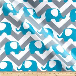 RCA Elephant Chevron Sheers Capri Blue/Grey