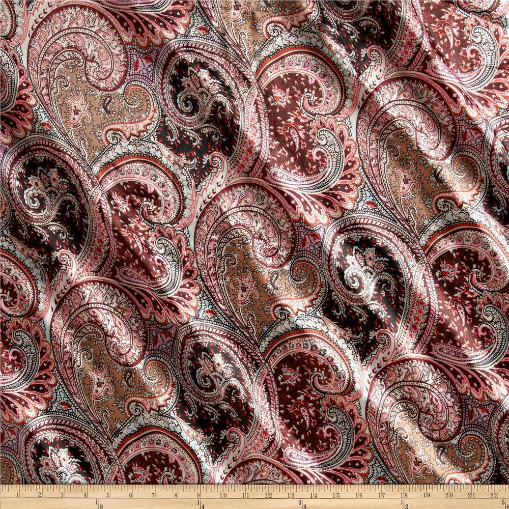 Chine Floral Paisley Black/Rose/Rust