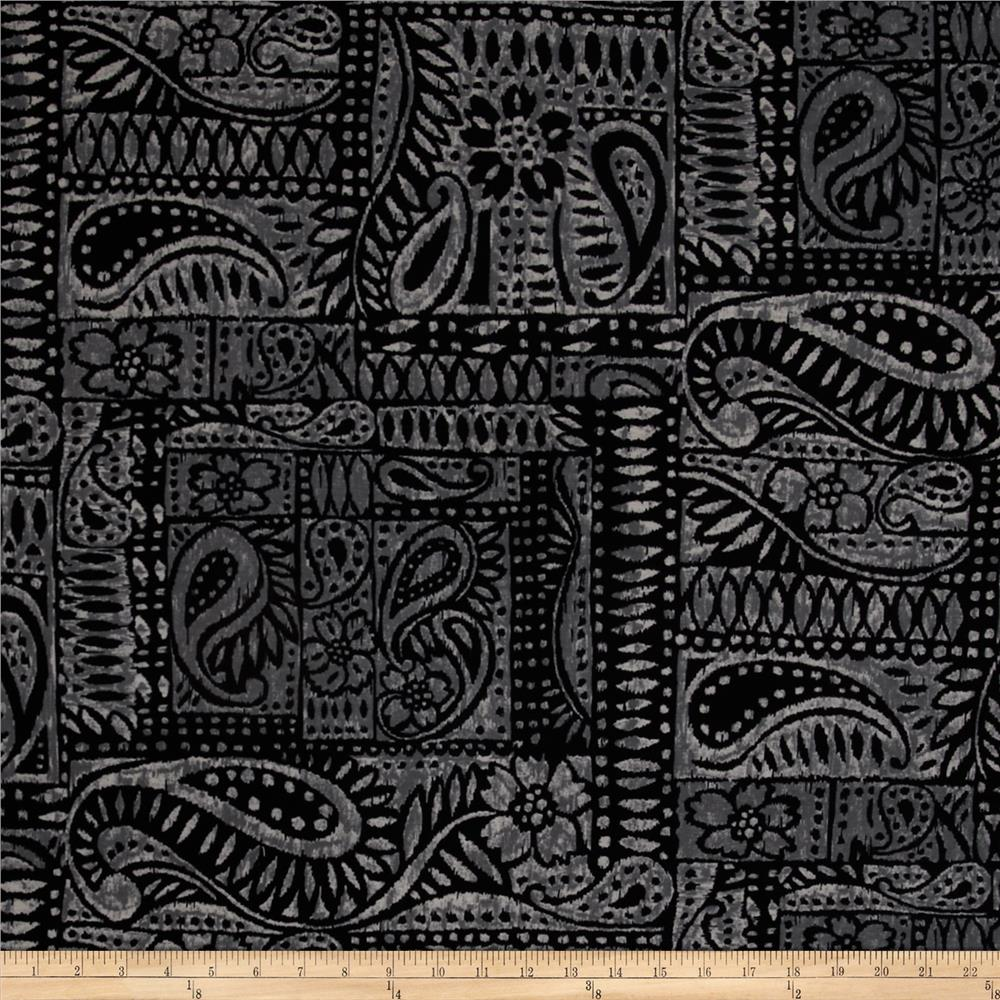 Stretch Rayon Jersey Knit Ancient Paisley Black/Charcoal