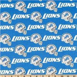 NFL Cotton Broadcloth Detroit Lions Blue/White/Grey Fabric