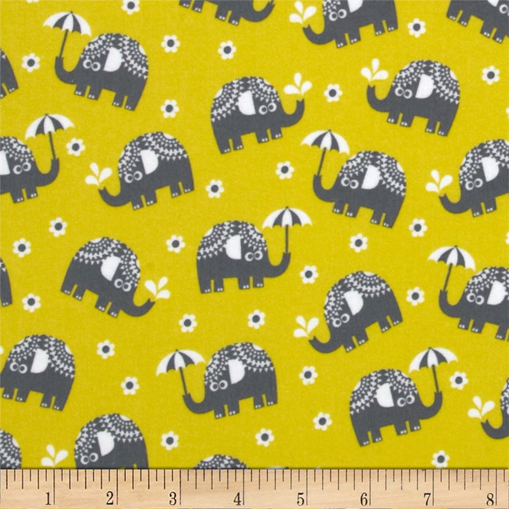 Michael Miller Pastel Pop Citron Gray Flannel Water for Elephants Citron