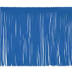 4'' Chainette Fringe Trim Royal Blue Fabric
