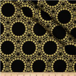Orbit Metallic Large Circle Dot Gold/Black Fabric