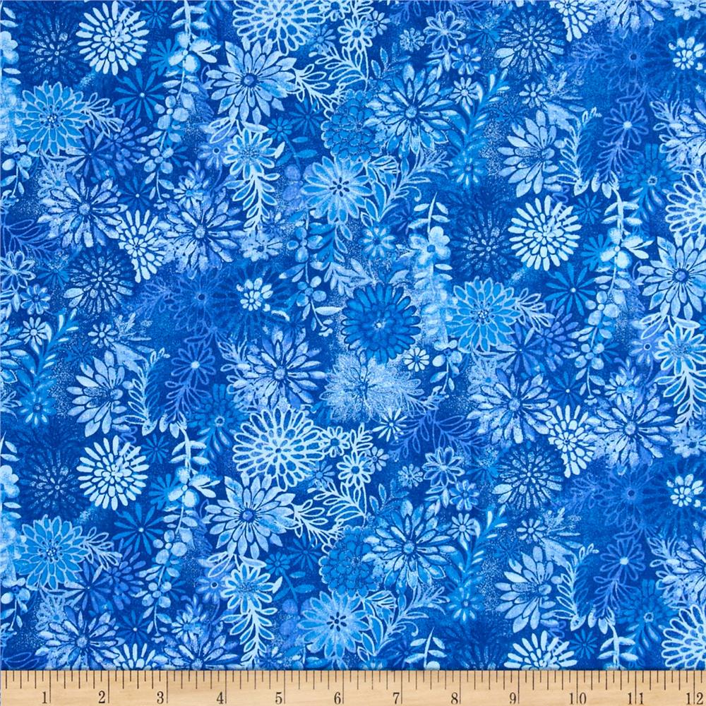 Packed Floral Batik Blue