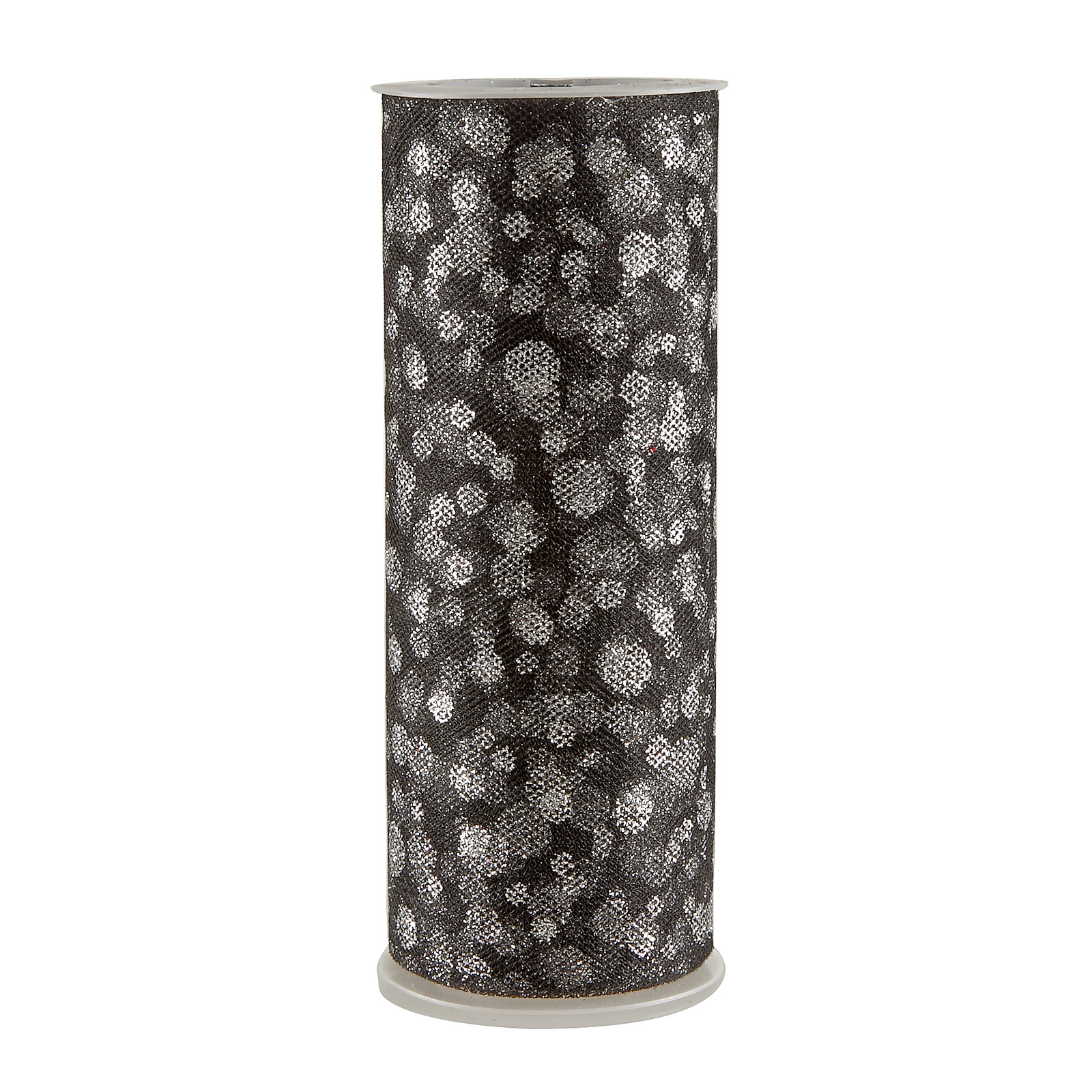 Tulle Spool Glitter Dots Black/Silver Fabric