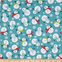 Frosty Forest Snowman Swirl Turquoise/Red