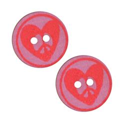 Novelty Button 1''' Heart Red