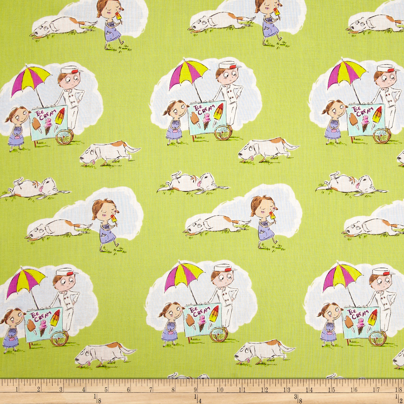 Heather Ross Crafty Chloe Summer Treat Green Fabric