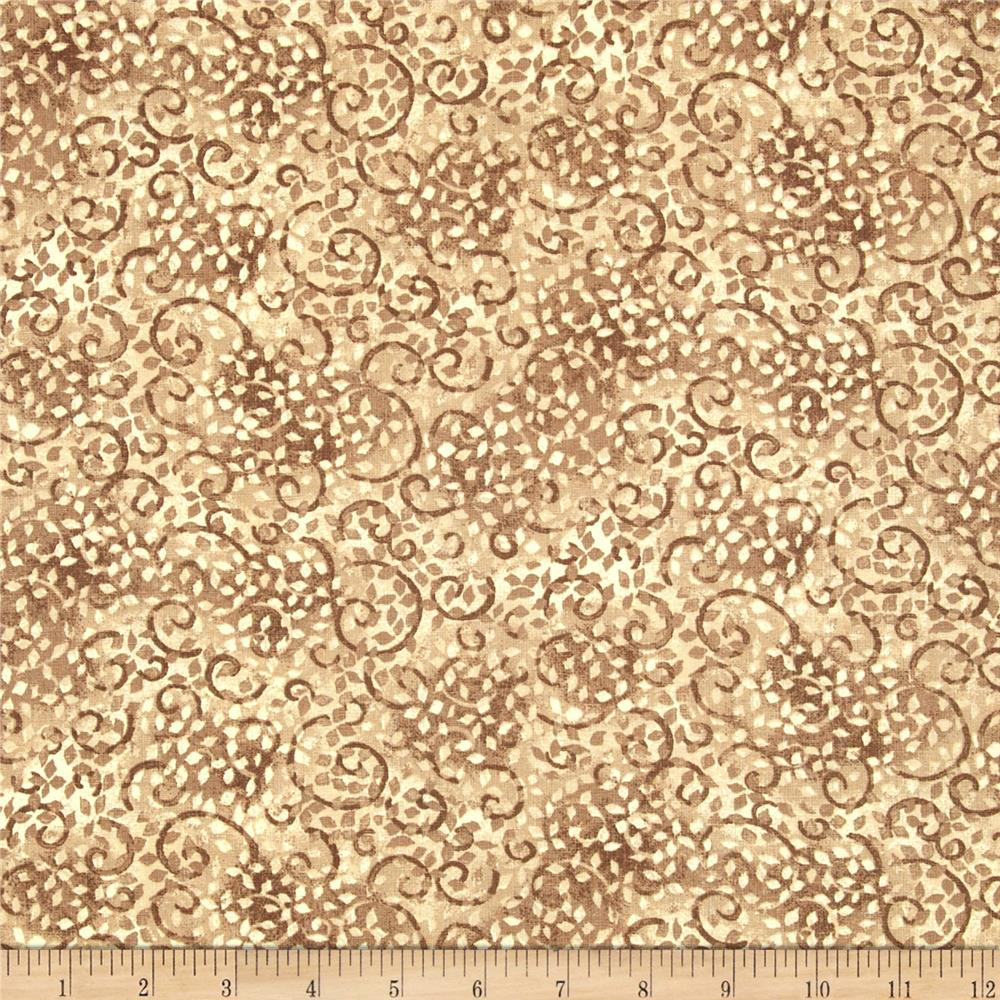 "108"" Wide Essentials Quilt Backing Leafy Scroll Tan/Cream"