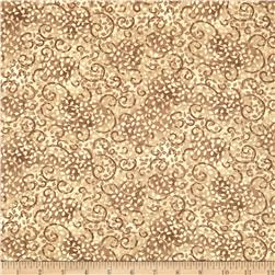 "108"" Wide Essential Quilt Backing Leafy Scroll Tan/Cream"
