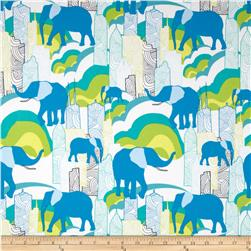 Art Gallery Jungle Ave Cotton Jersey Knit Elephant Skyline