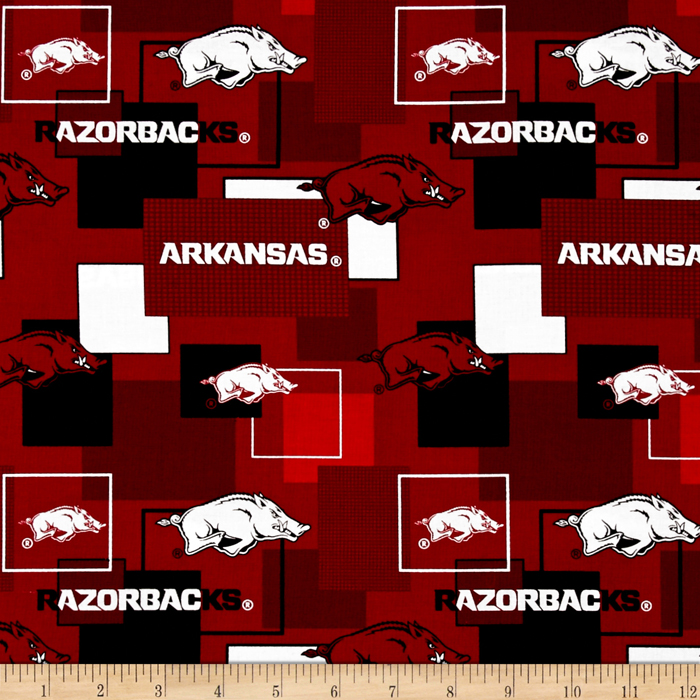 Collegiate Cotton Broadcloth University Of Arkansas Block Print Red Fabric by Sykel in USA