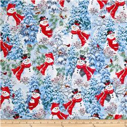 Timeless Treasures Jingle Bells Snowmen Frost