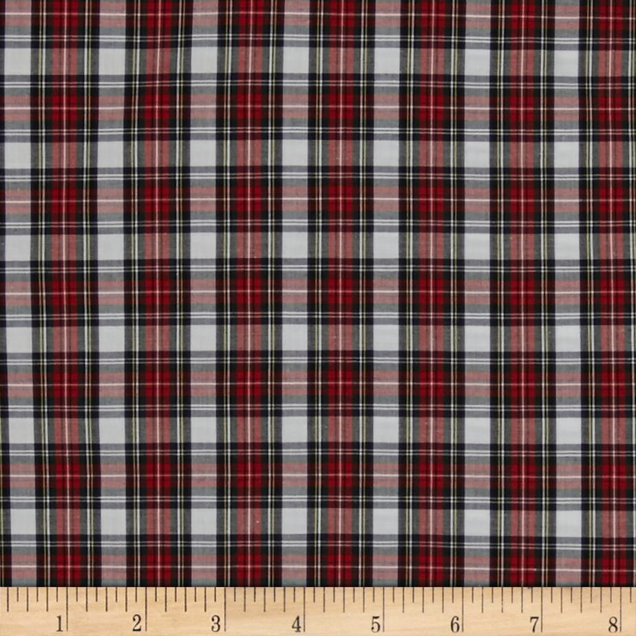 Pima Tartan Plaid Shirting Red/Black/White