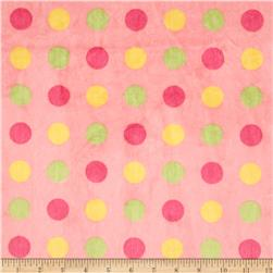 Minky 3 Way Renaissance Dots Pink/Lime/Yellow
