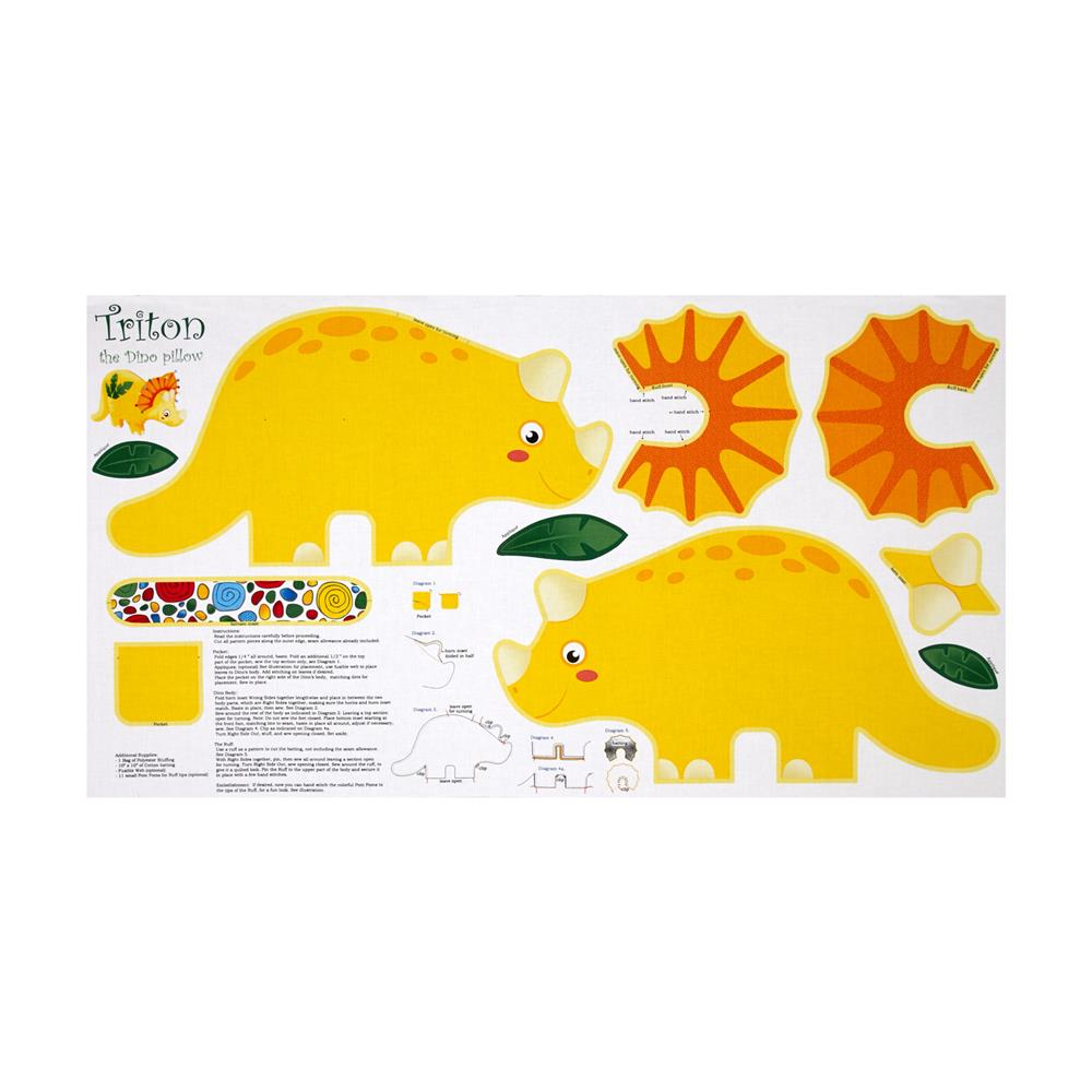 Jungle Club Triton The Dino 24 In. Pillow Panel Multi Fabric